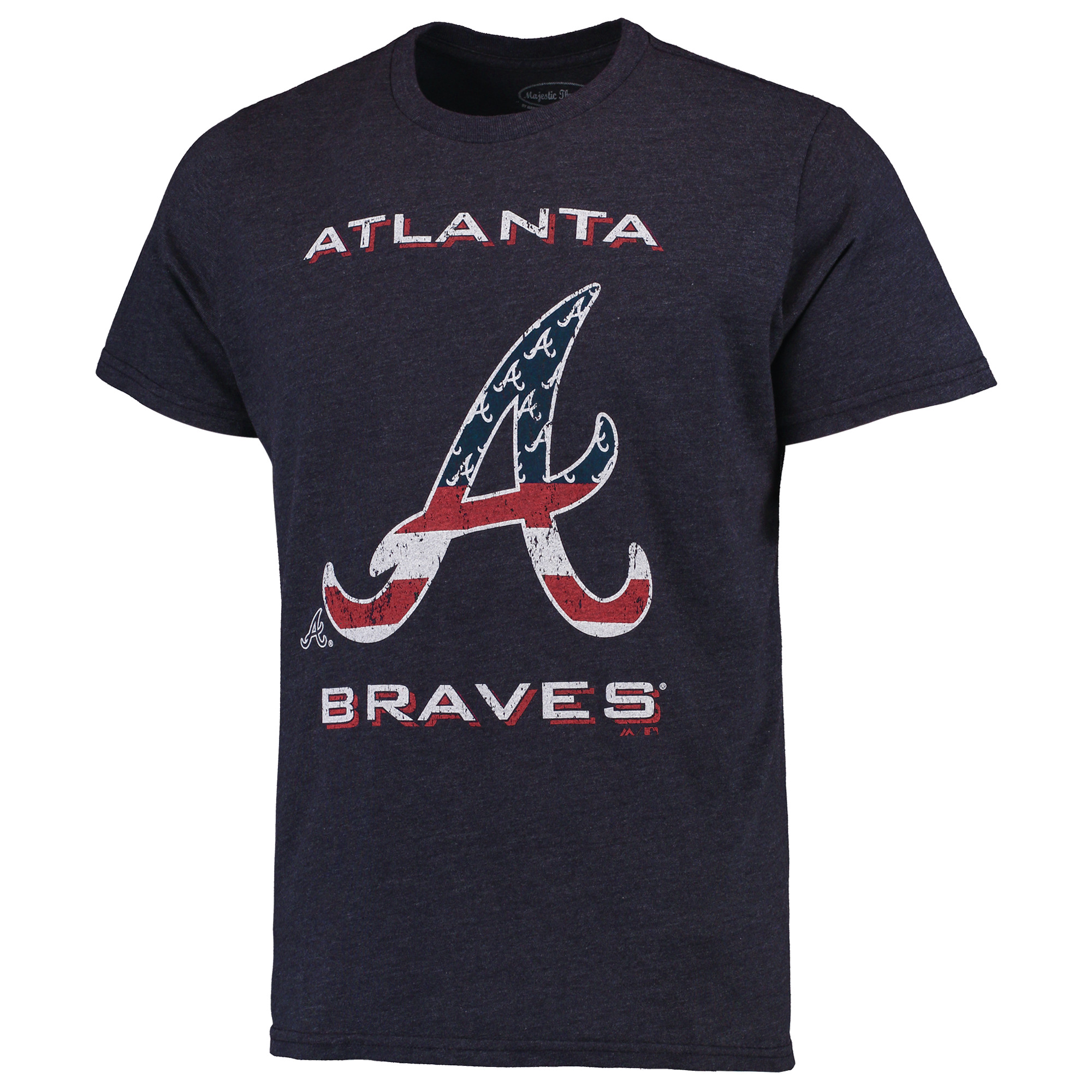 Atlanta Braves Majestic Threads Stars & Stripes Tri-Blend T-Shirt - Navy