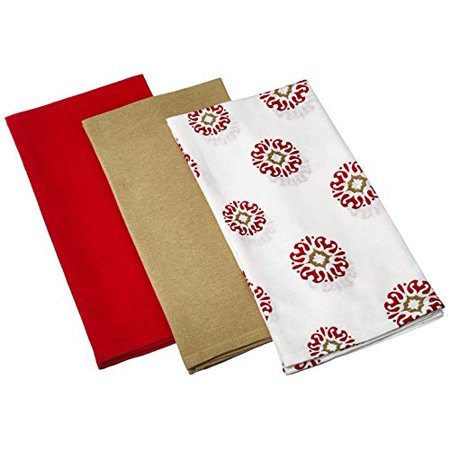 Kayo Designs - Kay Dee Designs Caf Express Collection Medallion Flour Sack Cotton Towels, 26-Inch by 26-Inch, Cinnabar, Set of 3