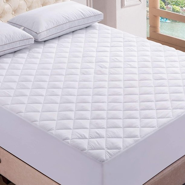 Quilted Mattress Pad (King, White)  Stretchable Mattress Topper