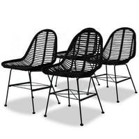 Dining Chairs 4 pcs Natural Rattan Black