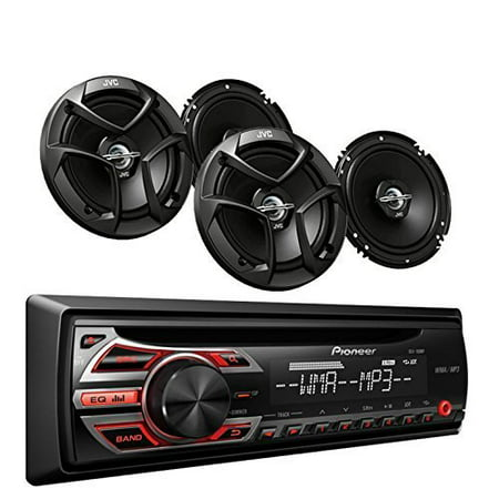 Pioneer DEH-150MP Car Audio CD MP3 Stereo Radio Player, Front Aux Input with JVC 6.5 Inch 2-WAY Car Audio Speaker