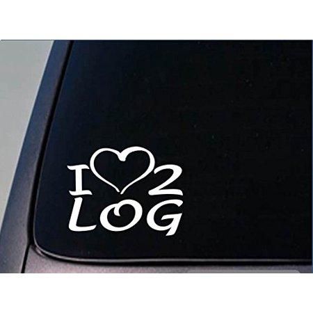I heart to log sticker *H198* 8 inch wide vinyl logger chainsaw decal Chainsaw Decal Sticker