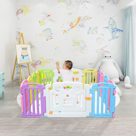LIVINGbasics Baby Playpen Kids Play Yard 14 Panel Activity Centre Safety for Home/Indoor/ Outdoor - image 1 of 9