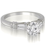 0.60 cttw. 14K White Gold Round Baguette Three Stone Diamond Engagement Ring (I1, H-I)
