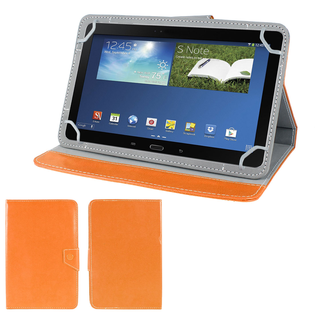 PC Orange PU Leather Folio Case Cover Stand for Kindle Fire HDX 8.9