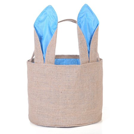 Easter Egg Basket For Kids Bunny Burlap Bag To Carry Eggs Candy And Gifts  Blue