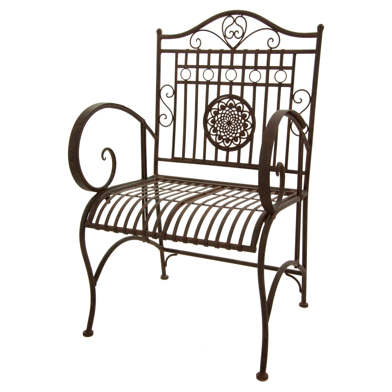 Oriental Furniture Rustic Wrought Iron Patio Arm Chair