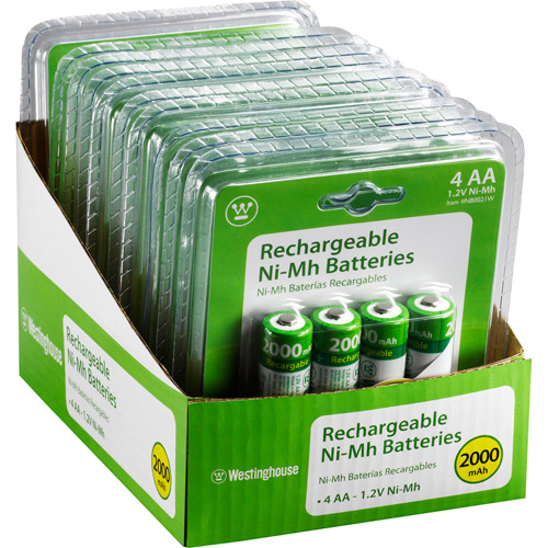 Westinghouse 4pc NiMh 2000mAh AA Re-Chargeable Battery Set