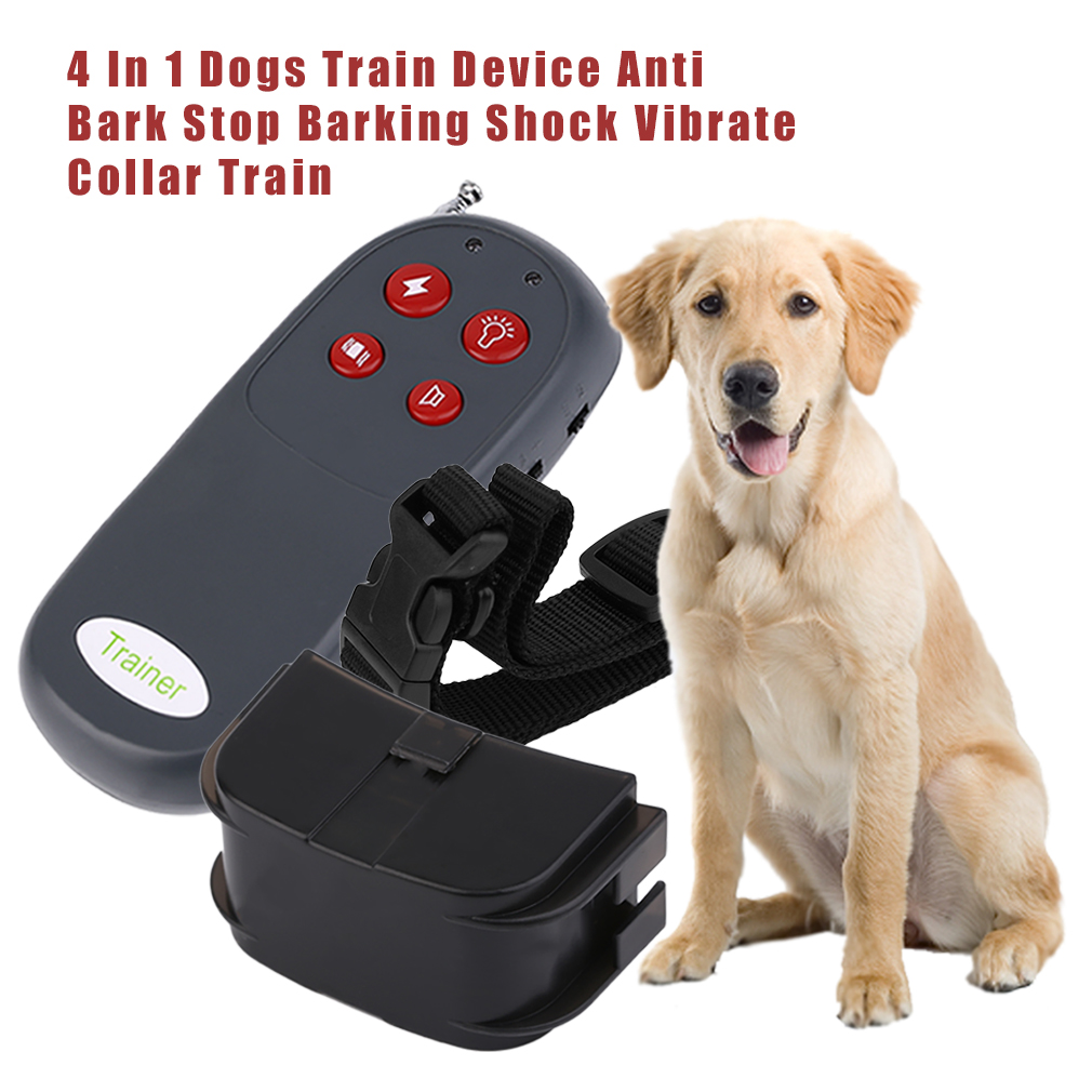 4 In 1 Waterproof Electric Dog Training Collar Rechargeable with Remote Shock Collar for Dog Training