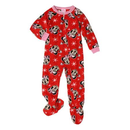 Minnie Mouse Toddler Girl Microfleece Footed Blanket Sleeper Pajamas ()