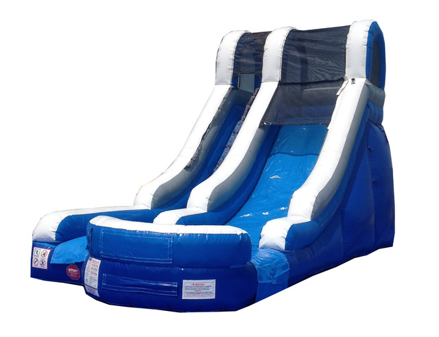Pogo 15' Blue Commercial Kids Jumper Inflatable Waterslide with Blower by Pogo Bounce House