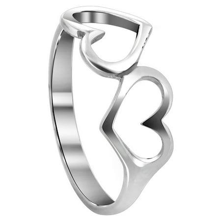 - Gem Avenue 925 Sterling Silver Emotional Twin Open Heart Love Ring