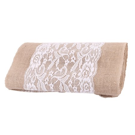 Wedding Party Home Decor Jute Hessian Burlap Lace Tablecloth Runner 108cm x 30cm](Burlap Table Runner With Lace)