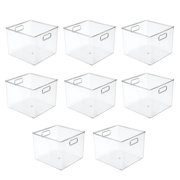"""mDesign Plastic Food Storage Container Bin with Handles - for Kitchen, Pantry, Cabinet, Fridge/Freezer - Large Organizer for Snacks, Produce, Vegetables, Pasta - BPA Free, 10"""" Square, 8 Pack - Clear"""