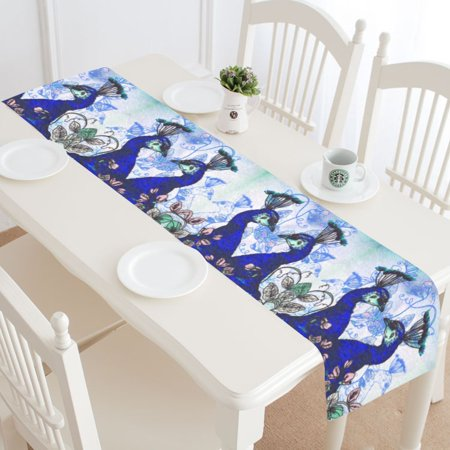 MYPOP Watercolor Peacock Floral Table Runner Home Decor 14x72 Inch, Peacock Blue Table Cloth Runner for Wedding Party Banquet Decoration (Peacock Colors For Wedding)
