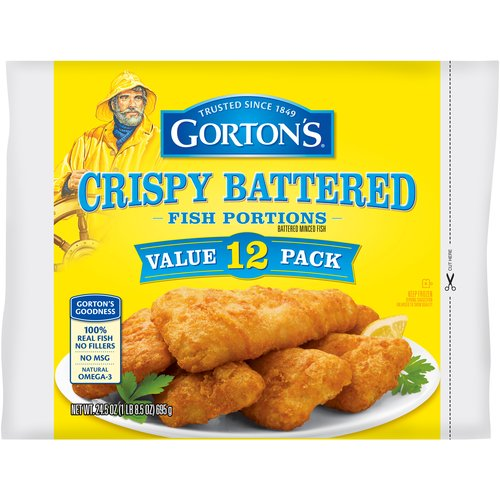 Gortons Batter Dipped Fish Portions, 12 Count, 24.5 oz