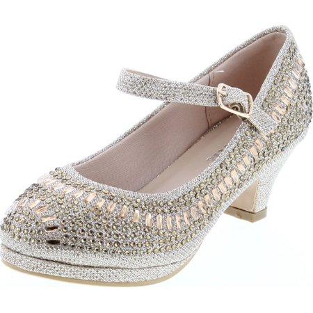 Link Cassie-28K Girls Rhinestone Platform Peagent Dress Shoes Rhinestone Platform Shoe