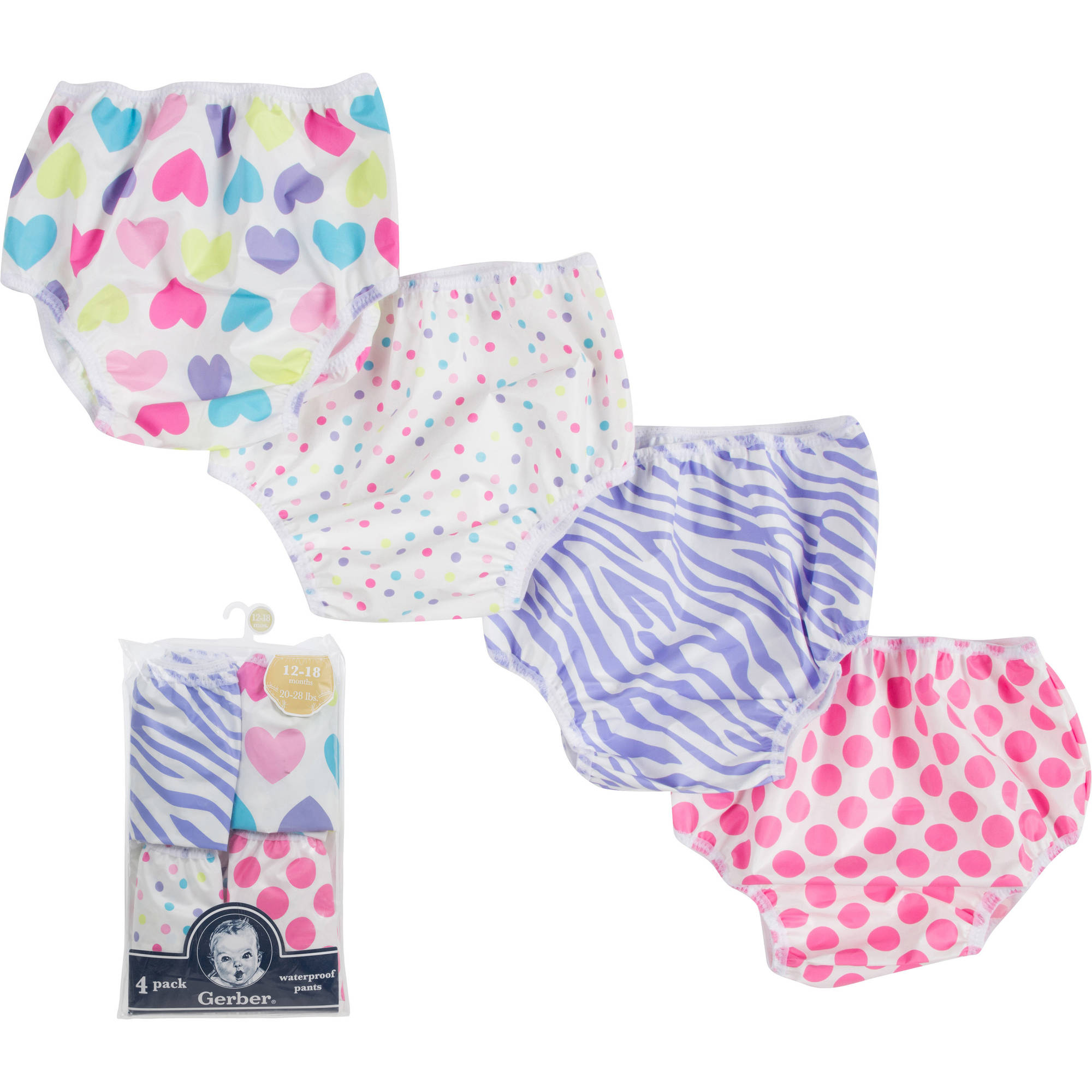 Gerber Baby Toddler Girl Waterproof Training Pant Covers,4-Pack Assorted