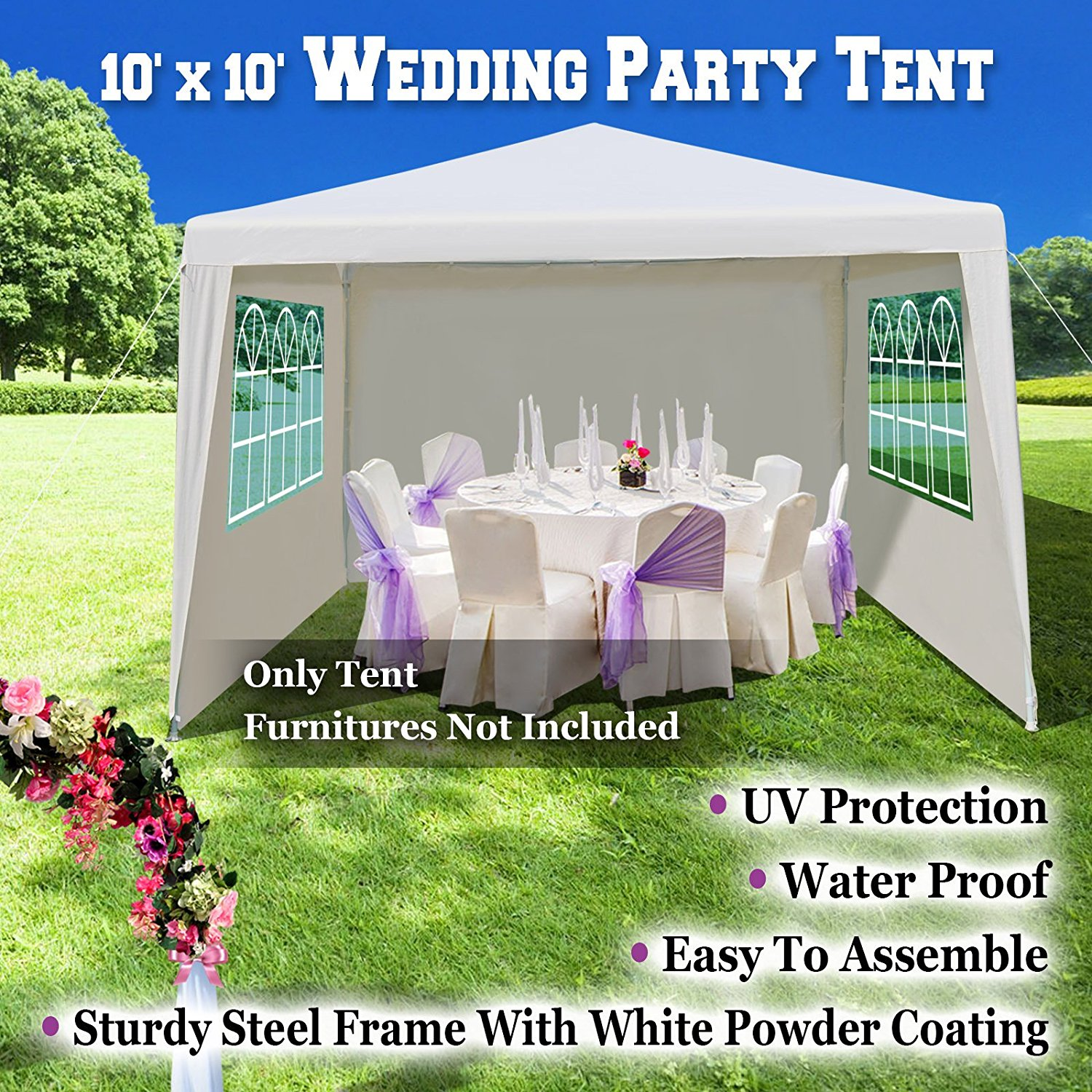 USA Wedding Party Tent 10u0027x10u0027 Gazebo BBQ Pavilion Canopy Cater Events Outdoor Dancing  sc 1 st  Walmart & USA Wedding Party Tent 10u0027x10u0027 Gazebo BBQ Pavilion Canopy Cater ...
