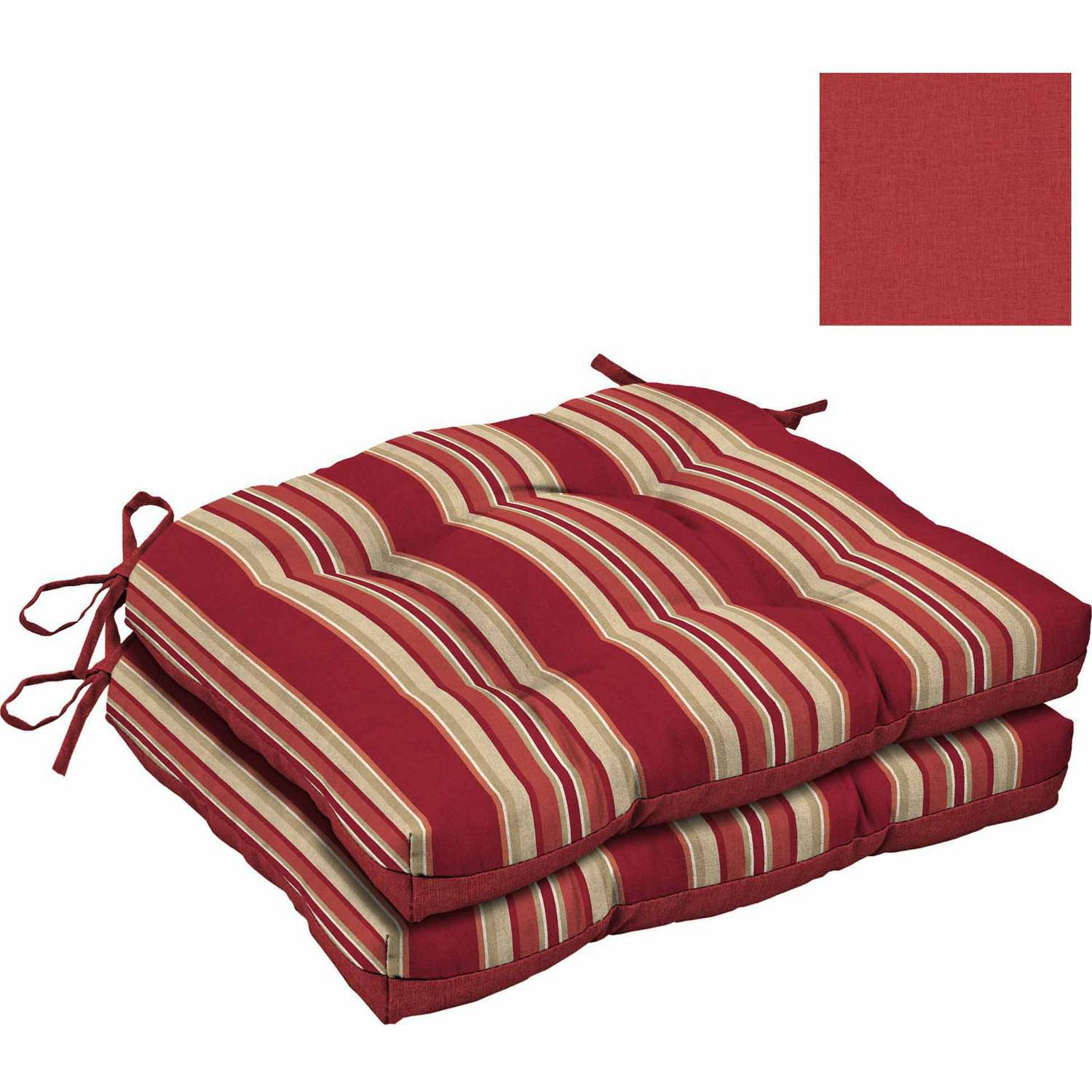 Mainstays Outdoor Wicker Chair Cushions Red Stripe Set of 2