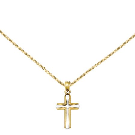 14kt Yellow Gold with Rhodium Cross Pendant