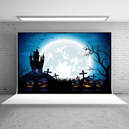 HelloDecor Polyster 7x5ft Dark Halloween Backdrops Photography Pumpkin Moon Night Castle Bats Photo Studio Background for Children](Background Halloween Music For Kids)