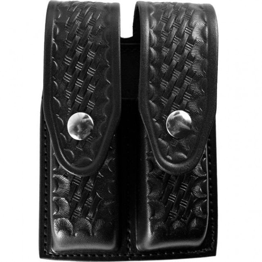 Gould and Goodrich B627-4W Double Magazine Case, Black Weave