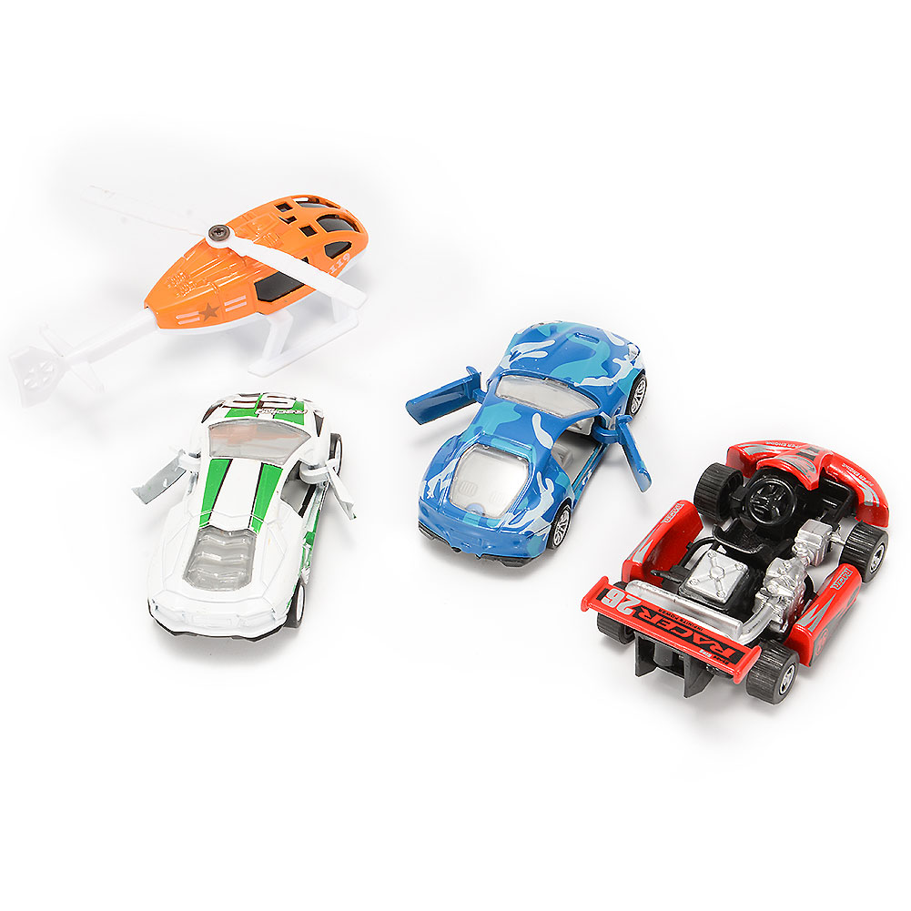 4PCS Diecast Metal Car Models Cars and Helicopter Play Set Pull Back Cars Vehicle Playset by GlowSol