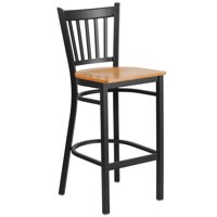 Flash Furniture HERCULES Series Black Vertical Back Metal Restaurant Barstool - Wood Seat Multiple Colors