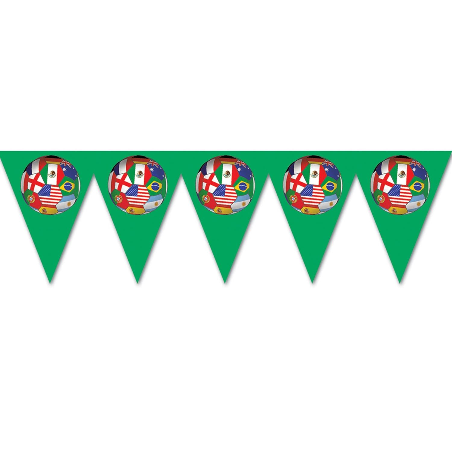 Pack of 6 Multi-Colored International Sports Soccer Themed Pennant Banner Party Decorations 7.4'