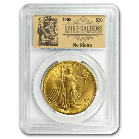 1908 $20 St Gaudens Dbl Eagle No Motto BU PCGS (Prospector