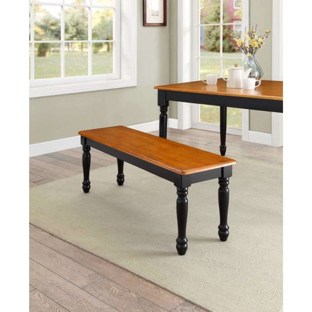 Better Homes & Gardens Autumn Lane Farmhouse Solid Wood Dining Bench, Black and Natural Finish Bench Extra Thick Wood