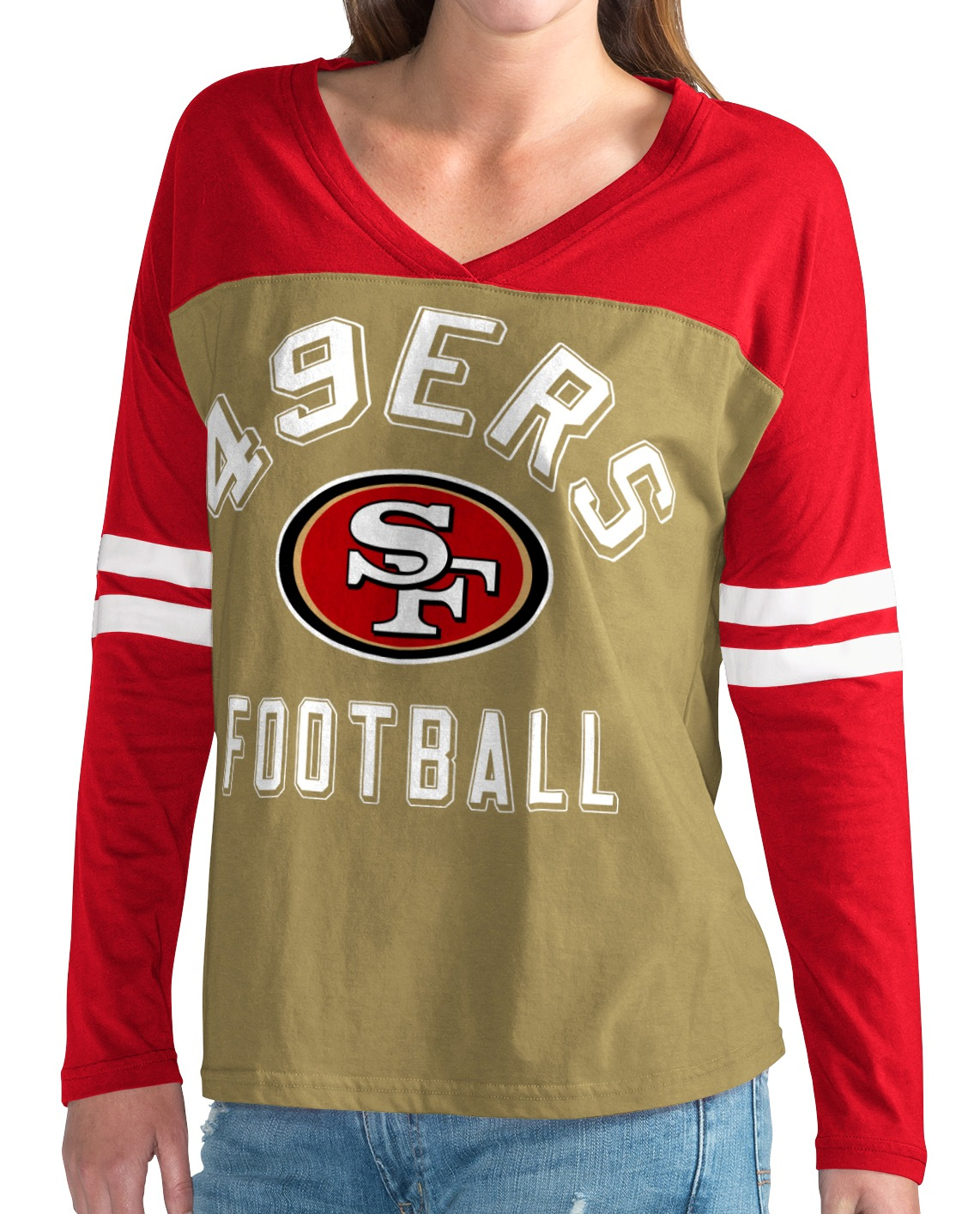 "San Francisco 49ers NFL Women's G-III ""Goal Line"" Long Sleeve V-Neck T-shirt by G-III Sports"