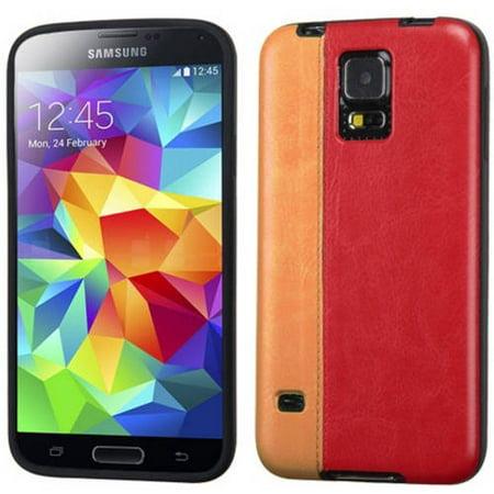 Samsung Galaxy S5 MyBat Candy Skin Cover, Orange/Red Leather