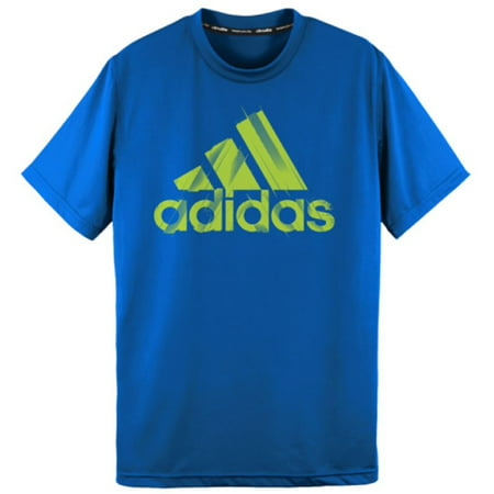 Adidas Boys Climalite Performace Short Sleeve Crew Neck Active Logo T-Shirt (Small (8), (03)Shadow Blue/Solar Slime) Adidas Climalite Long Sleeve Jersey