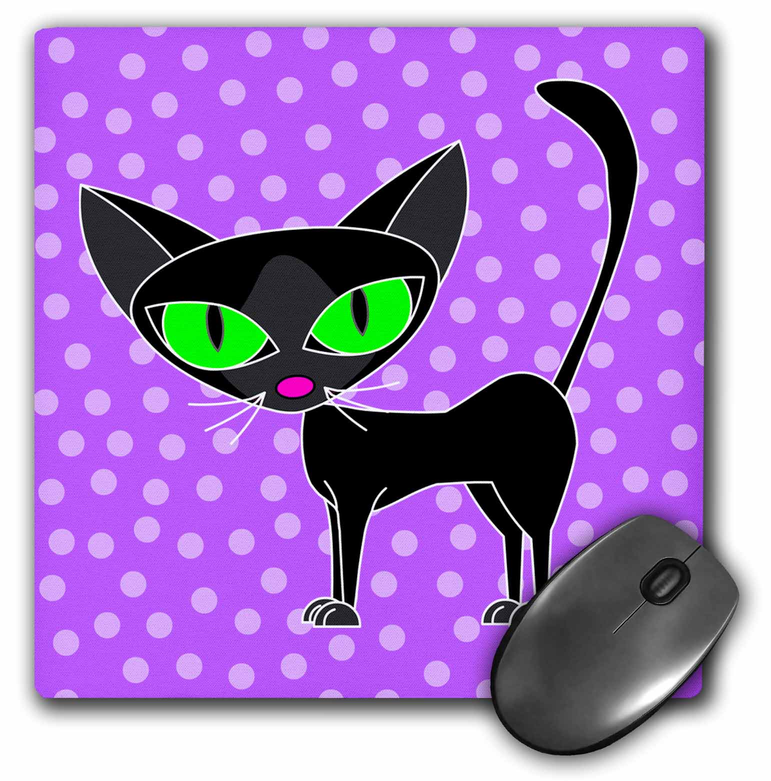 3dRose Fancy Feline Black Cat Design in Purple, Mouse Pad, 8 by 8 inches