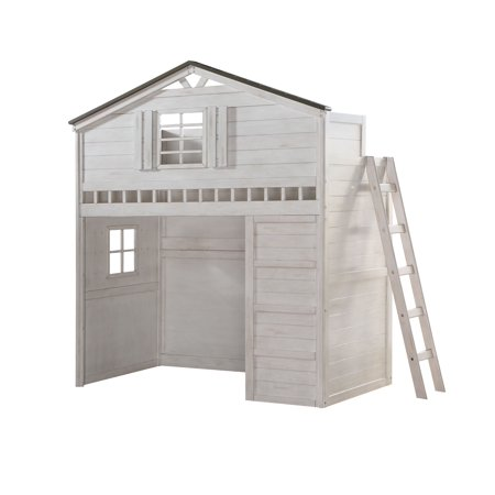 Acme Tree House Loft Bed in Weathered White and Washed Gray