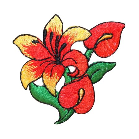ID 6846 Tropical Hibiscus Flower Patch Garden Lily Embroidered Iron On Applique