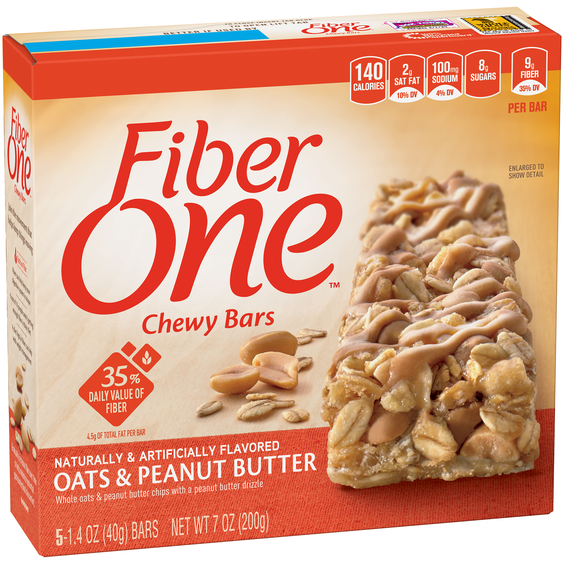 Fiber One��� Oats & Peanut Butter Chewy Bars 5-1.4 oz. Wrappers