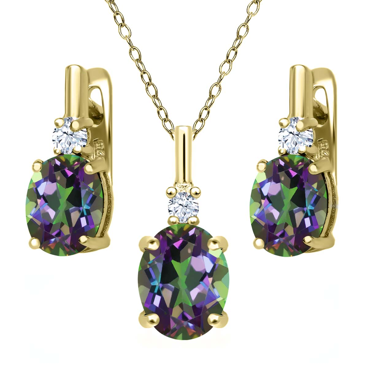 6.95 Ct Green Mystic Topaz White Created Sapphire 18K Yellow Gold Plated Silver Pendant Earrings Set by