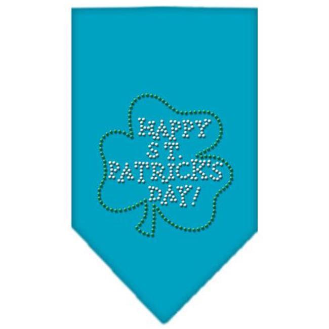 Mirage Pet Products 67-36 LGTQ Happy St. Patricks Day Rhinestone Bandana Turquoise Large - image 1 de 1