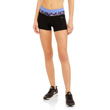 "N.Y.L. Sport Women's Active 3"" Inseam Performance Bike Shorts With Contrast Printed Waistband"