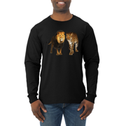 Wild African Lion and Cheetah Animal Lover Mens Long Sleeve Shirt