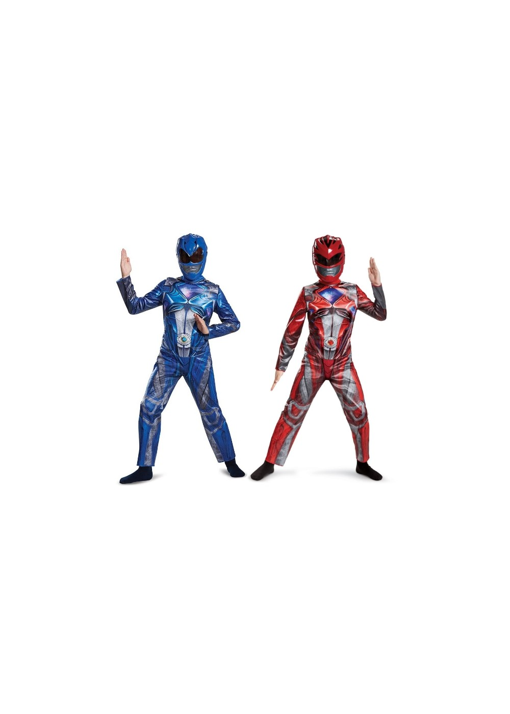 Red and Blue Kids Power Rangers Costume Duo by