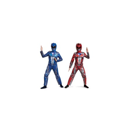 Red and Blue Kids Power Rangers Costume Duo
