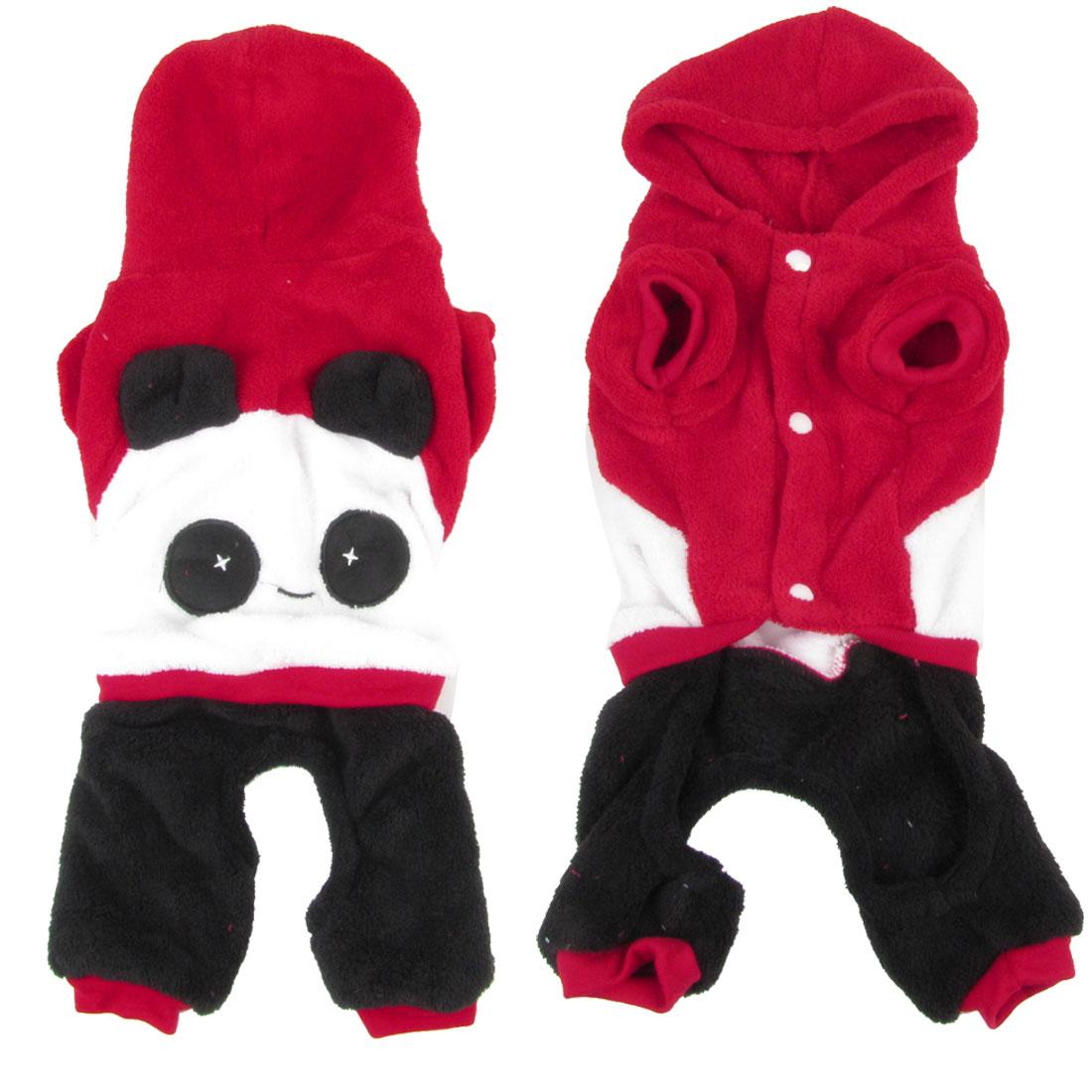 Warm Plush Panda Shaped Chihuahua Pet Dog Cat Apparel Clothes Jumpsuit Red XL