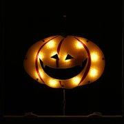 "16"" Lighted Orange Jack-O-Lantern Pumpkin Halloween Window Silhouette Decoration"
