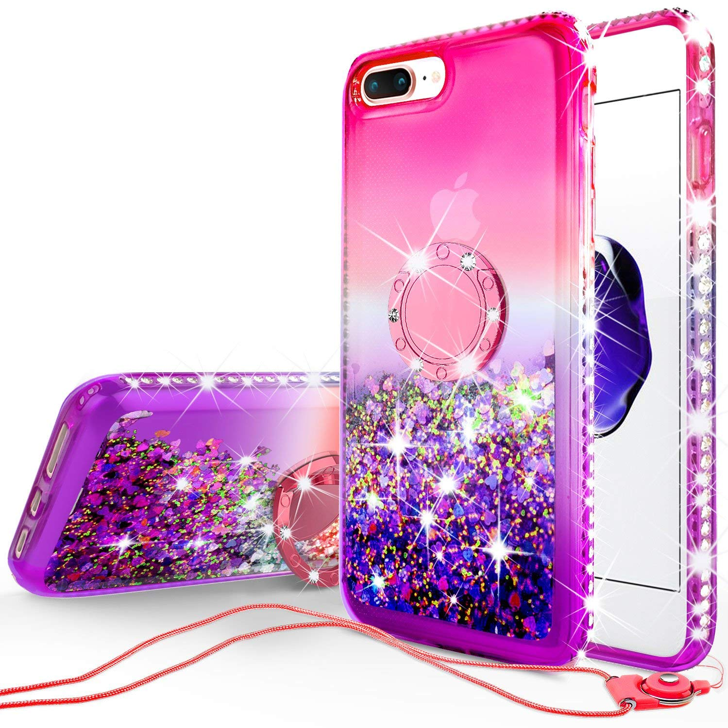 iphone 7 case iphone 8 case liquid floating quicksand glitter