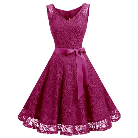 Market In The Box Women Floral Lace V Neck Sleeveless Bridemaid Party - Pink Polka Dot Dress