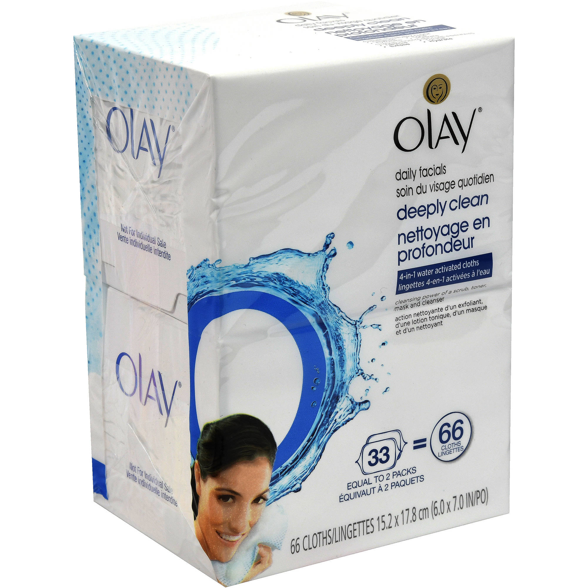 Olay 4-in-1 Daily Facial Wipes, Combination/Oily Skin, 66 count